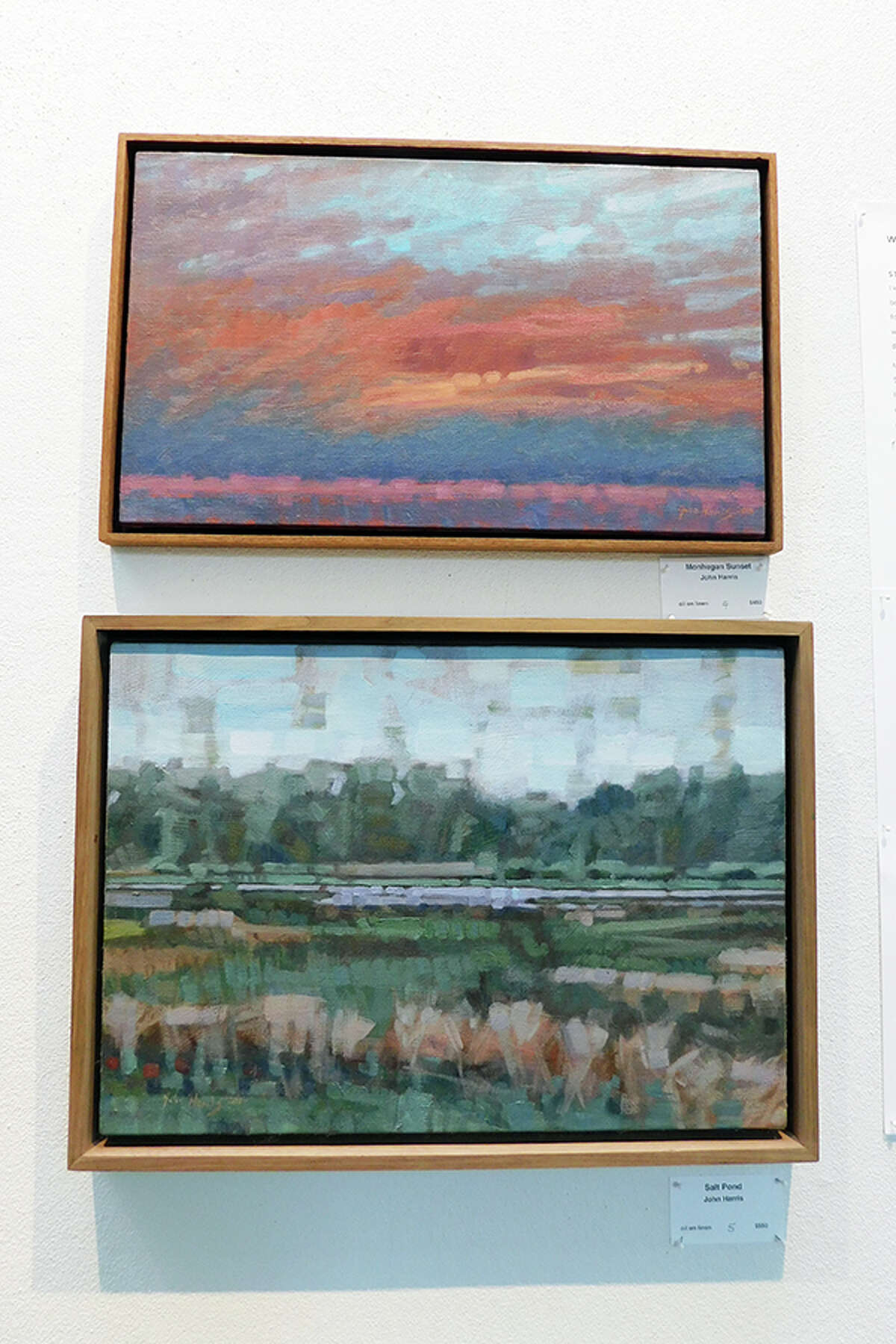 Paintings by John Harris on display at the Wilton Library. - Kendra Baker photo