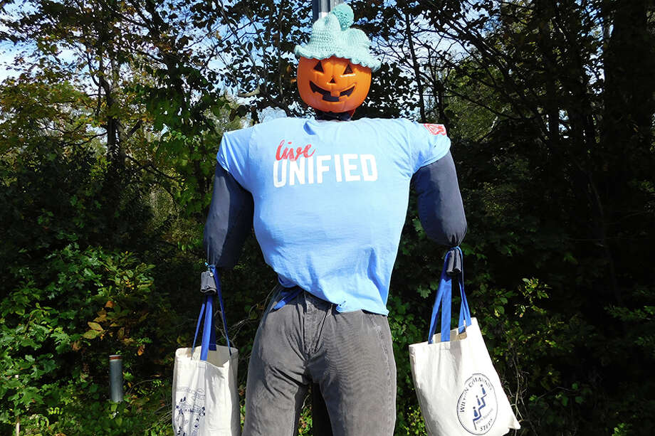 One of the scarecrows in Wilton Center this year. — Kendra Baker photo / NikonCoolpix