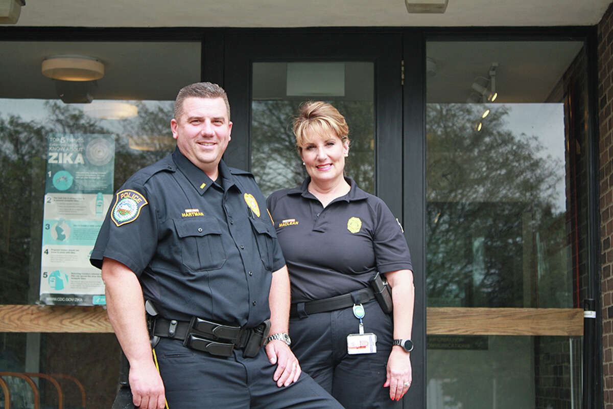 Lt. David Hartman, left, and Officer Diane MacLean will give a talk on how to recognize a scam.