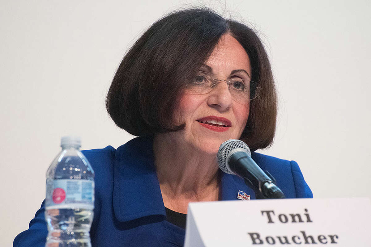 Republican incumbent candidate for Connecticut's 26th Senate district, Toni Boucher, speaking at the Oct. 16 candidate debate.