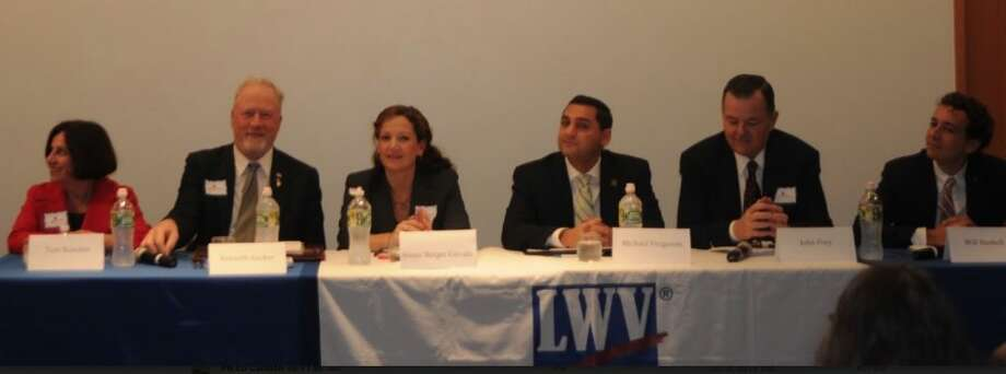 Last Tuesday's Ridgefield League of Women Voters debate featured six candidates running for office in the 2018 election. State Sen. Toni Boucher, far left, is facing challenger Will Haskell, far right, to represent Connecticut's 26th state senate district, which covers Ridgefield and Wilton.