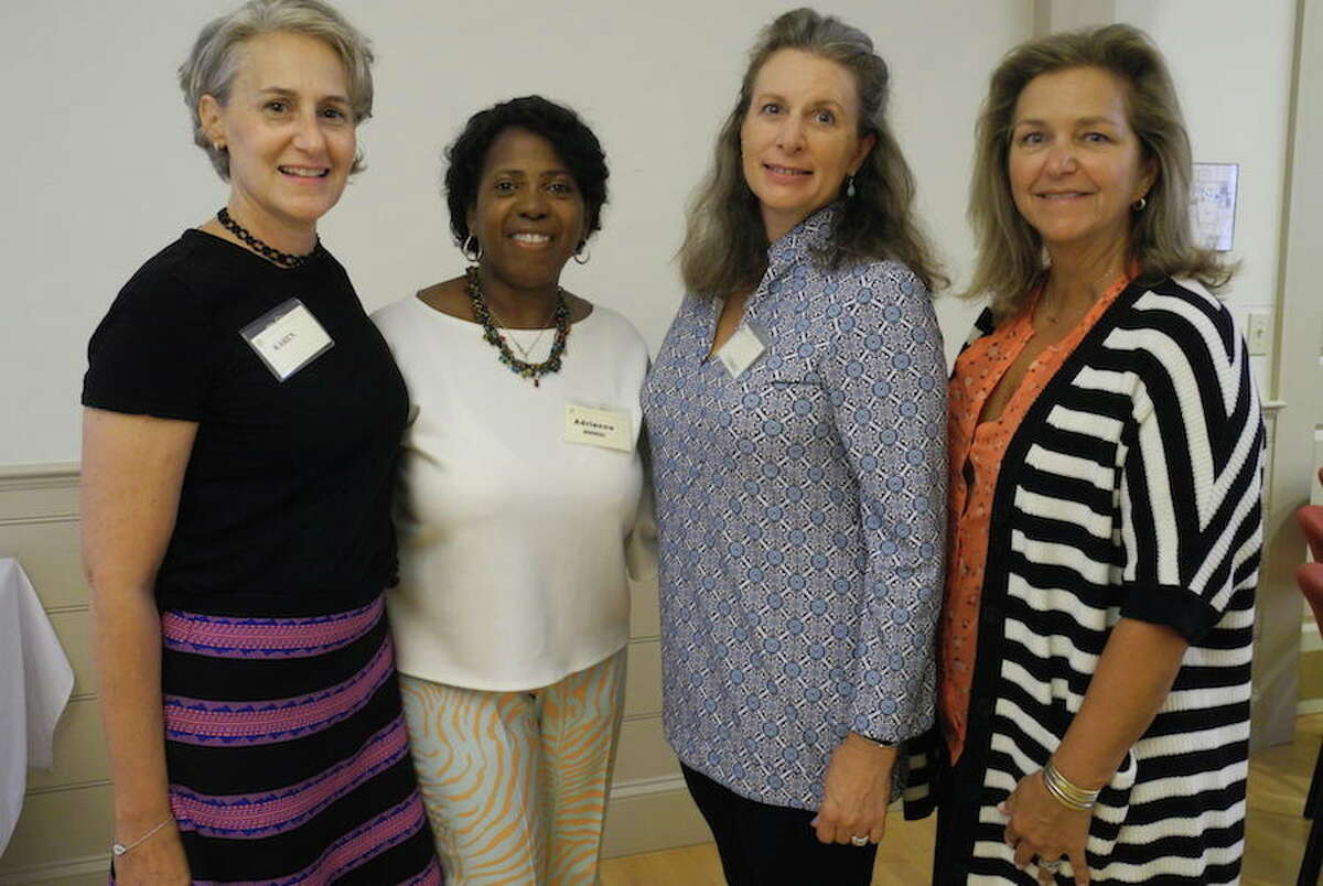 Members of Morning Meditations with Sisters in Community who worked to bring Polly Sheppard and Rose Simmons to Wilton, from left, Karen Williams, Adrienne Reedy, Lindsay Prospect and Donna Savage. - Jeannette Ross photo