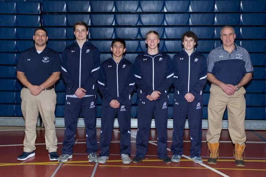 Wilton wrestling head coach John Foldeak (left) with this past season's seniors (from the left) Zach Zeyher, Nick Rende, Seth Warren and Finn McGovern, and assistant coach Brian McGovern. — GretchenMcMahonPhotography.com
