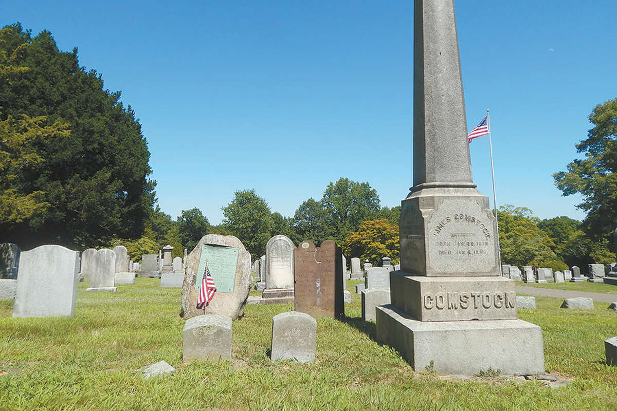 A cluster of Comstock headstones in Hillside Cemetery.