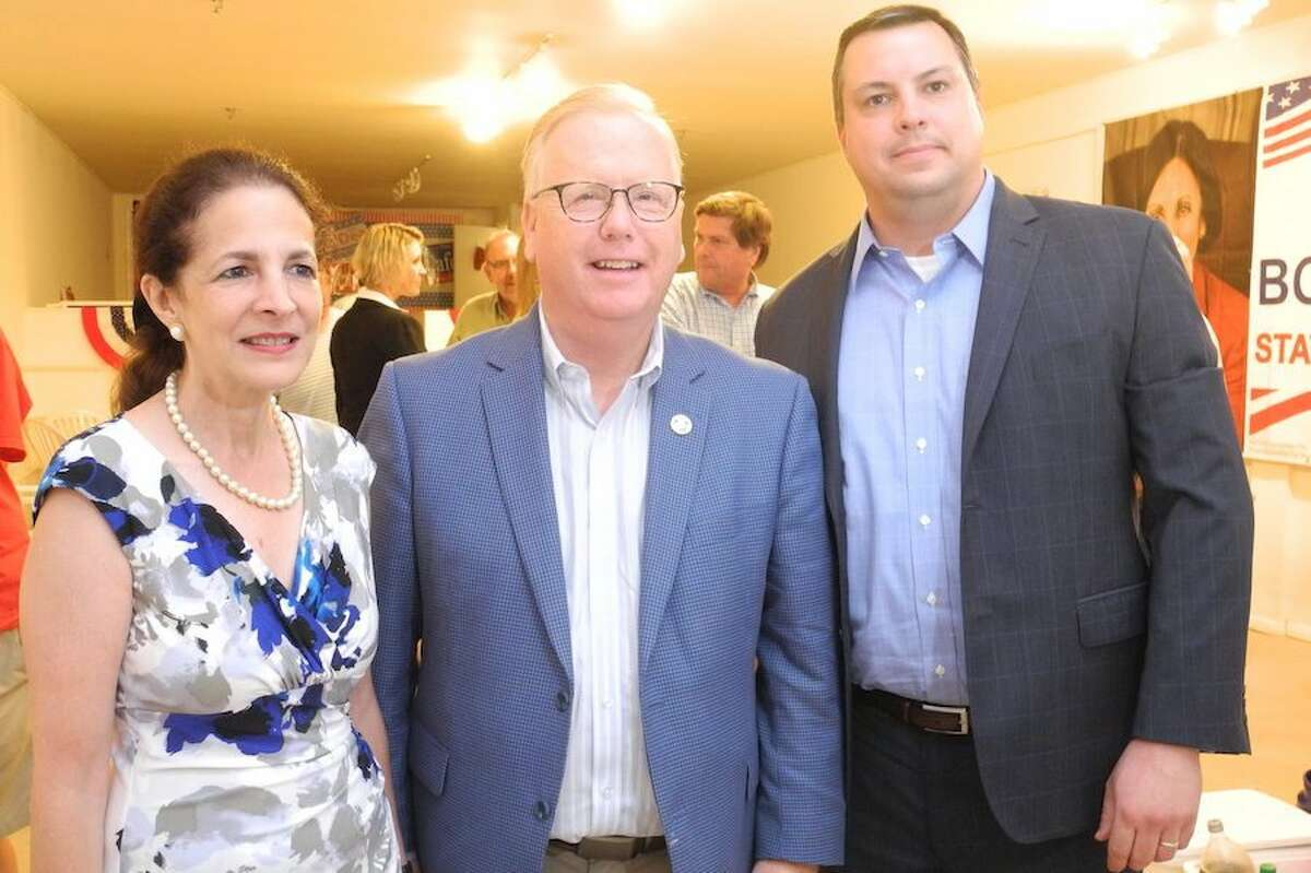 State Rep. Gail Lavielle is joined by gubernatorial candidate Mark Boughton and Selectman Joshua Cole.