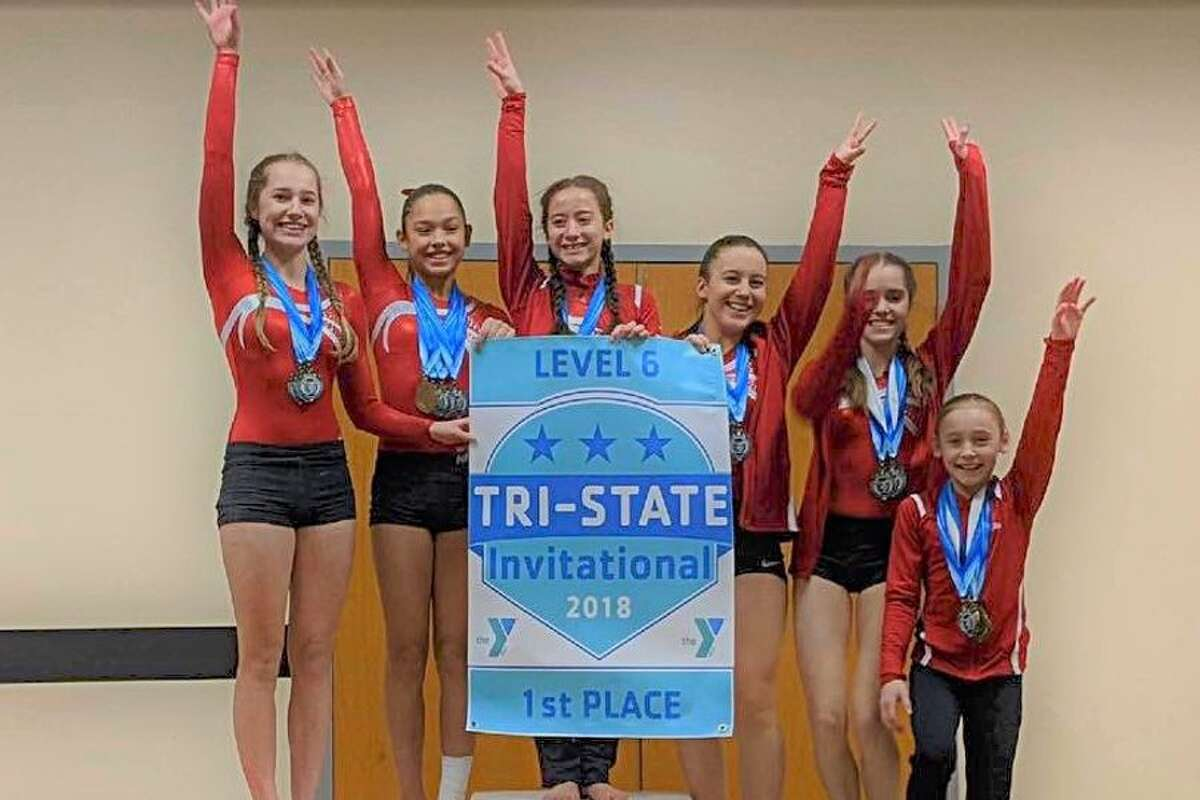 The Wilton Y gymnastics team's Level 6 group won the division title at the recent Tri-State Invitational in Trumbull. From the left: Ava Walker, Sofia Blessing, Alyssa Smeriglio, Michaela Kane, Donna Stepnowsky and Ashley Umhoefer.