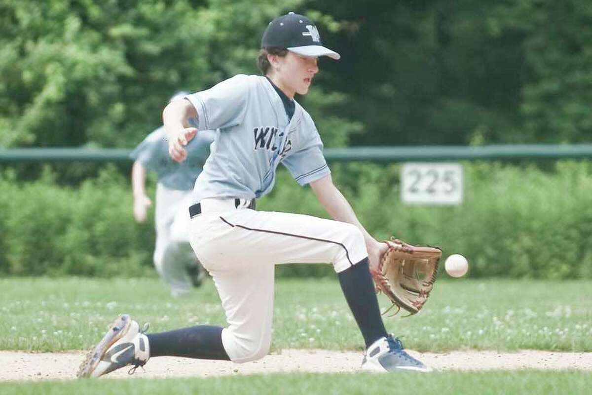 Cole Silvia fields a grounder at shortstop during the Wilton 12U baseball all-star team's win at Ridgefield on Sunday, in the final game of pool play in the Connecticut Little League District 1 tournament. - Scott Mullin photo