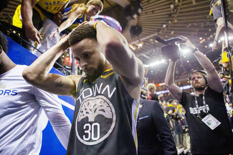 Golden State Warriors Stephen Curry exits after they lost the NBA Finals against the Toronto Raptors at Oracle Arena on Thursday, June 13, 2019, in Oakland, Calif.