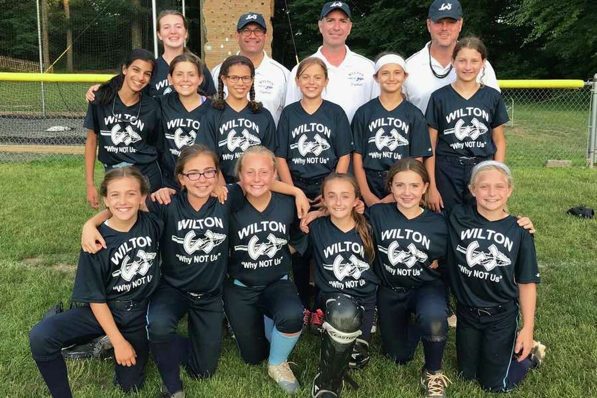The Wilton Little League 10U softball all-star team, which opens the District 1 tournament next week, features, from the left, front row: Sophia Viggiano, Kaitlin Feldman, Ava Gaudio, Olivia Feldman, Grace Couch and Emma van Heyst; second row: Trisha Nath, Annie McMahon, Elle Hawthorne, Drew Amero, Sofia Samai and Mackenzie Northway; and back row: Kelly O'Malley, coach Tom Viggiano, coach Aaron Feldman and manager Matt McMahon.