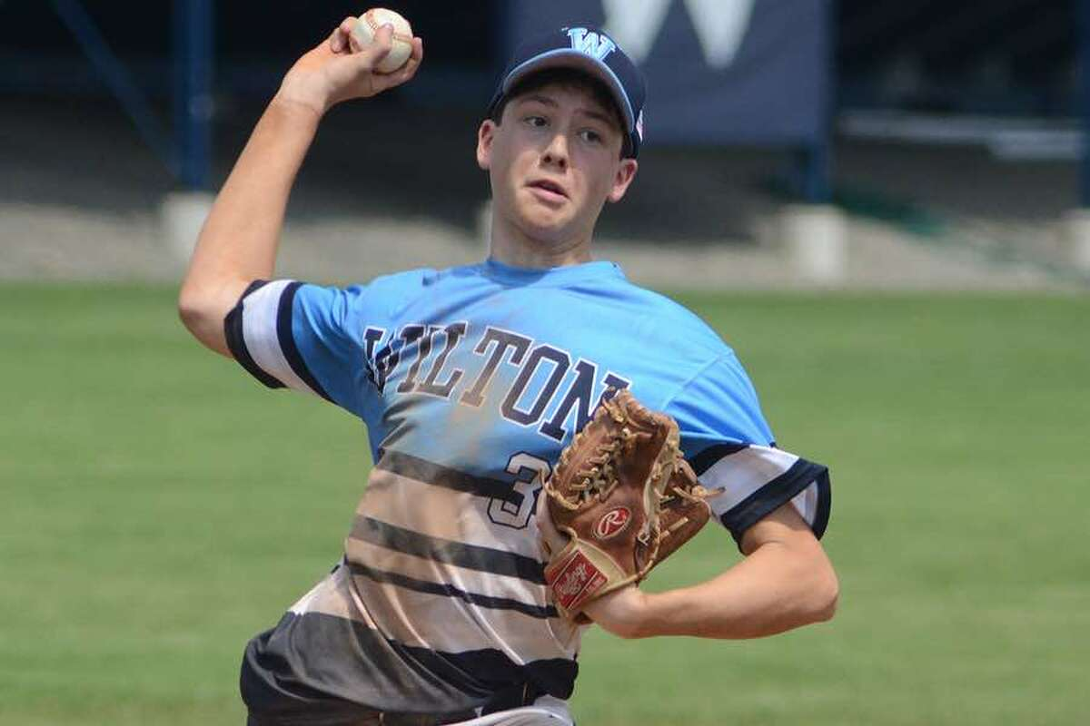 Erik Lebek turned in a strong performance on the mound for the Wilton American Legion Post 86 Junior team in last Friday's 3-2 win over Stamford. - J.B. Cozens photo