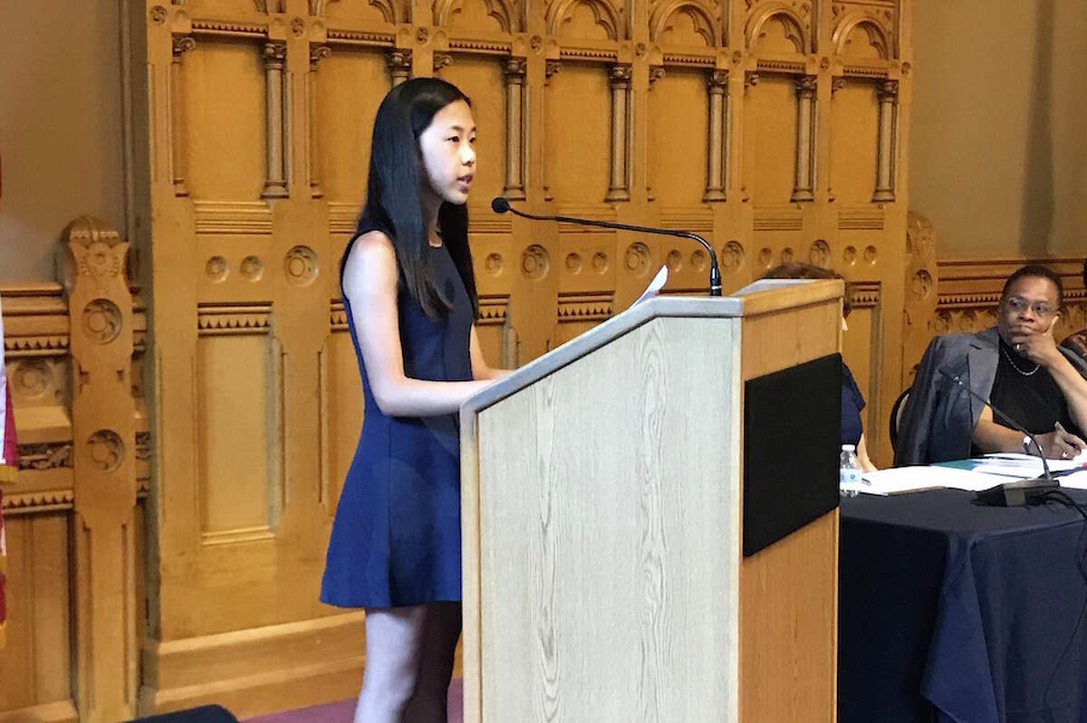 Jessica Wu gives her oral presentation at the Oral Kids Court Competition in Hartford on June 12. - Contributed photo