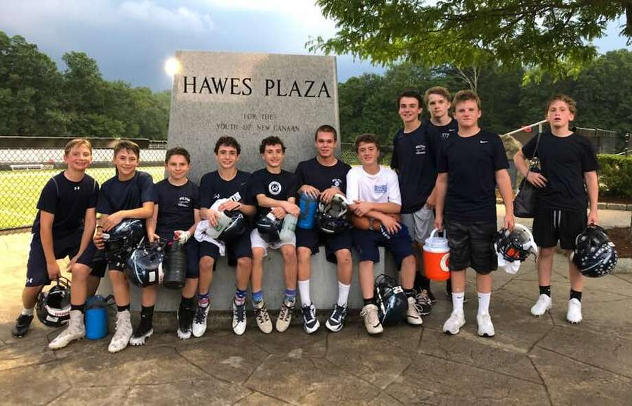 The Wilton eighth grade team, which won the FCFL 7-on-7 Tournament last Monday in New Canaan. Fom left to right: Charlie Guglielmo, Ryan Presaino, Michael Colavecchio, Caleb Rath, Charlie Rath, Quinn Stengrim, Andrew Acosta-Rua, William McCormick, Nicholas Walden, Christopher Capone and Xander Petrides.