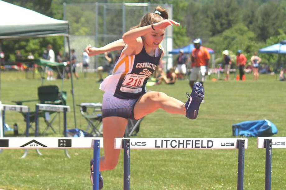 Shelby Dejana won the 100 hurdles in the 15-16 age group at the recent USATF state outdoor track and field championships.