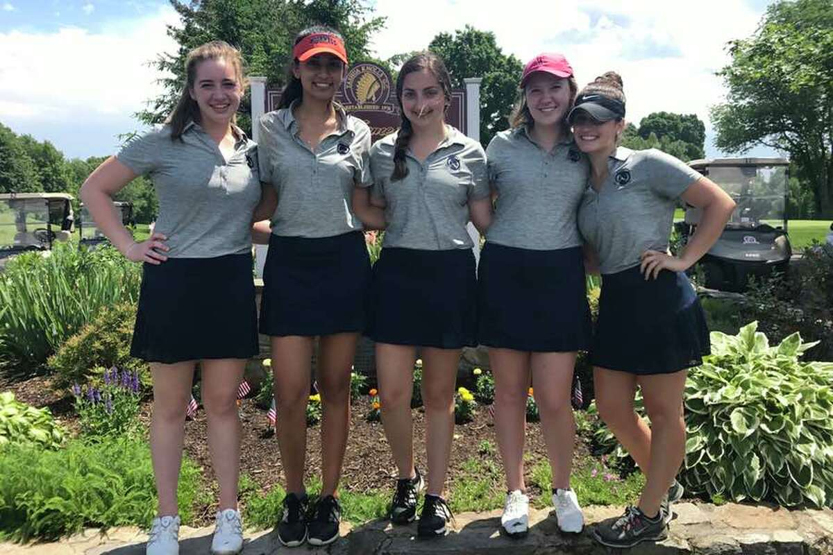 The Wilton High girls golf team finished 18th at the state championships at Tashua Knolls Country Club in Trumbull. From the left: Madeline Pennino, Maya Fazio, Sophia Kammerman, GiGi Hill and Karli Williams.