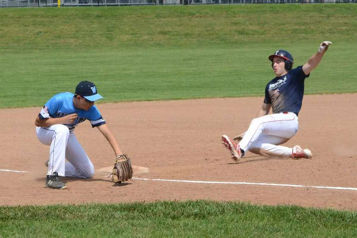 Third baseman Cam Case prepares to put the tag on a Greenwich runner during the Wilton American Legion Post 86 Junior team's game last Saturday at home. - J.B. Cozens photo