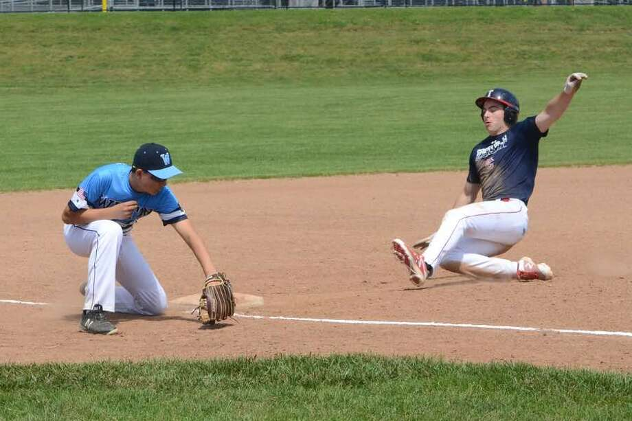 Third baseman Cam Case prepares to put the tag on a Greenwich runner during the Wilton American Legion Post 86 Junior team's game last Saturday at home. — J.B. Cozens photo