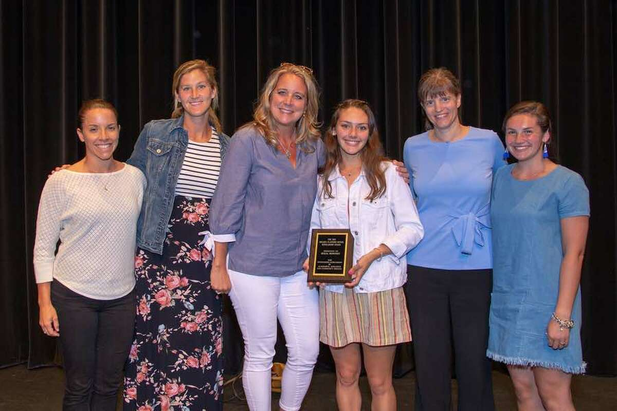 Four former Melissa Nickel Award recipients joined 2018 winner Julia Bonnist and presenter Meppie Cote at Tuesday night's Wilton High School Senior Athletic Awards Night. From the left: Dawn Macri, Caitlin Young Copeland, Meppie Cote, Julia Bonnist, Julie Tienken Comiskey and Meaghan Downey. - GretchenMcMahonPhotography.com