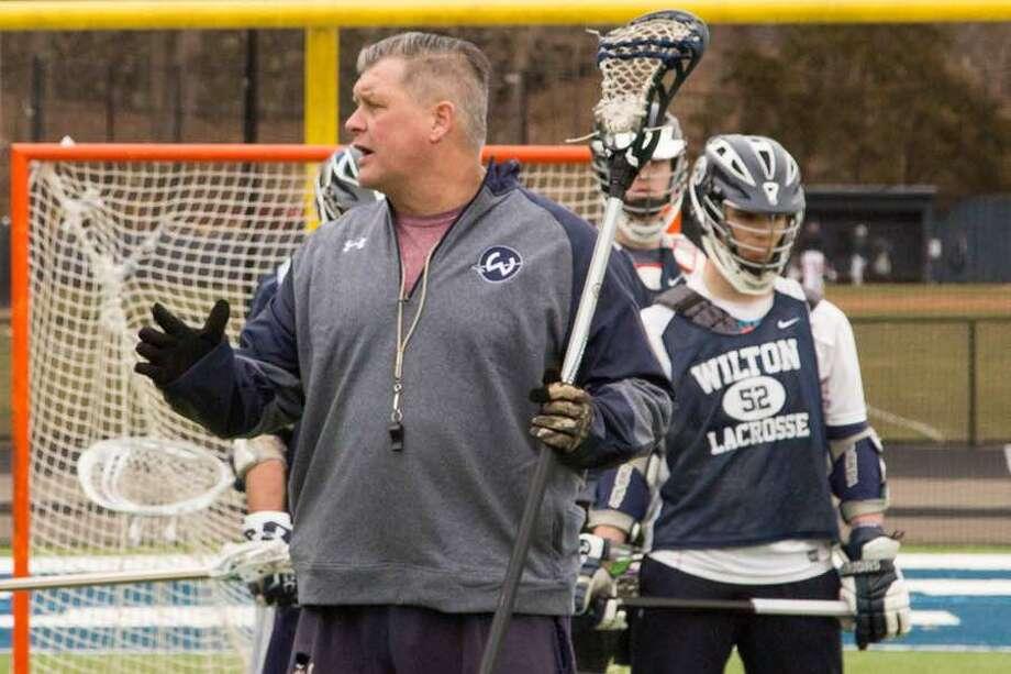 John Wiseman at a Wilton High boys lacrosse practice earlier this season. — GretchenMcMahonPhotography.com