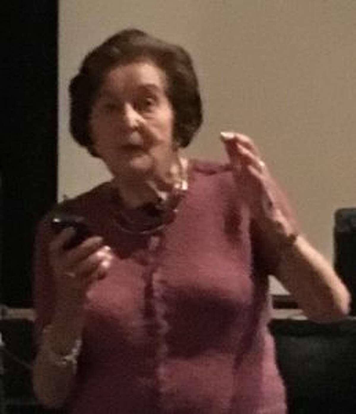 Judith Altmann speaking at Middlebrook School on June 11.