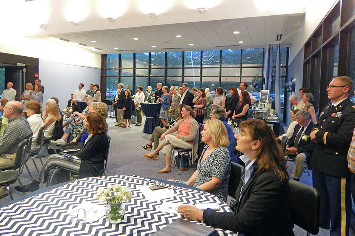 People filled the Zellner Gallery for the Wilton Hall of Fame induction ceremony on June 6.