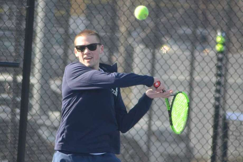 Owen McKessy and doubles partner Henry Murphy will play in the Class L quarterfinals today at Yale. — J.B. Cozens photo