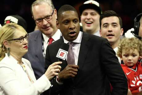 General Manager of the Toronto Raptors Masai Ujiri is interviewed after his teams victory over the Golden State Warriors to win Game Six of the 2019 NBA Finals at ORACLE Arena on June 13, 2019 in Oakland, California.