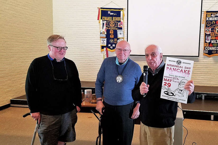 From left, Dan Mahoney, Fred Wernig and Bob Tortorella are among the Kiwanians ready to serve up the pancakes, sausages and coffee on Memorial Day. — Contributed photo