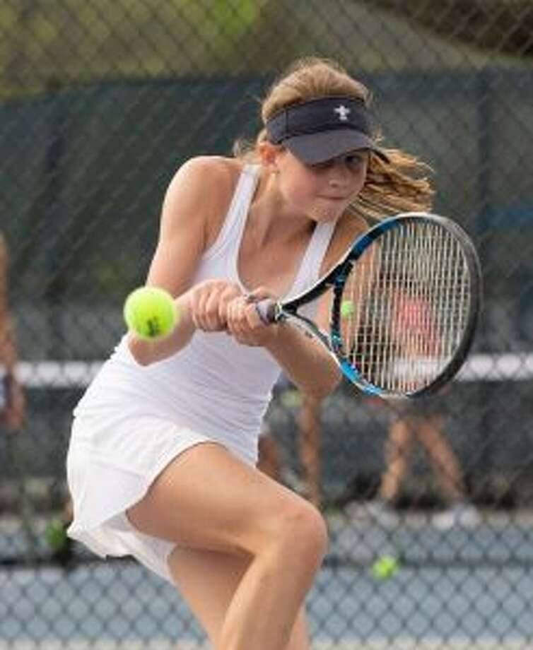 Emma Caldwell produced one of Wilton's two wins at Thursday's FCIAC quarterfinal loss at New Canaan, with a straight-set victory at second singles. — GretchenMcMahonPhotography.com