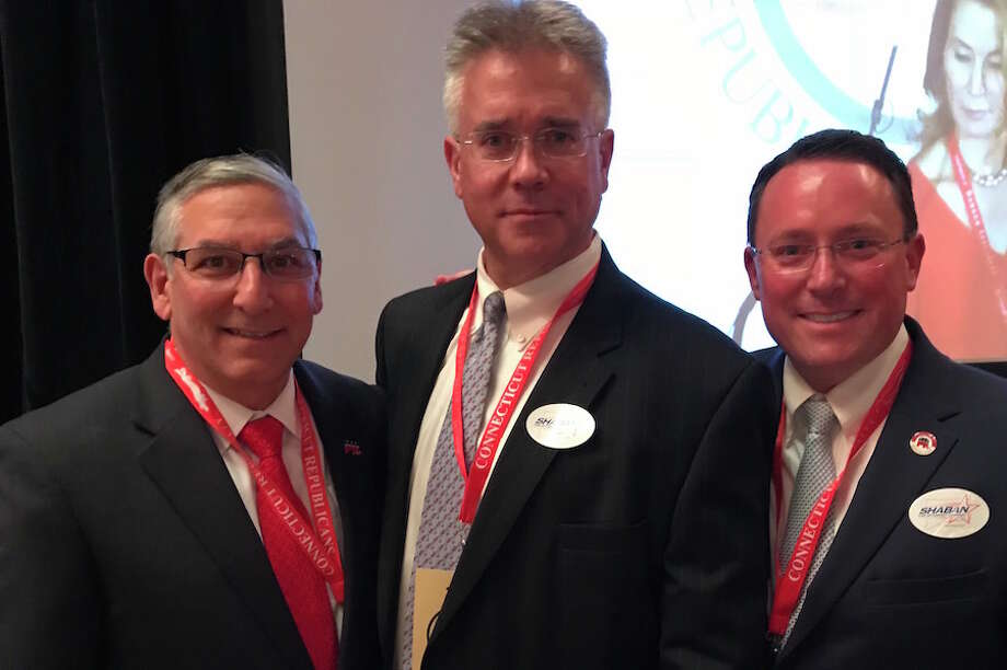 From left, Senate Republican President Pro Tempore Len Fasano, former Republican state Rep. John Shaban, and Fairfield RTC Chairman Jamie Millington, at Friday's state Republican Convention at Foxwoods Casino in Mashantucket. — Contributed photo