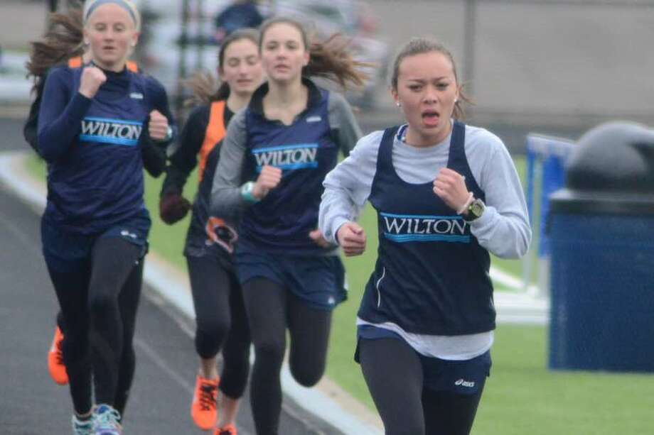 Emily Welch (shown in a meet from earlier in the season) was the winner in the 800 meters at the Wilton High track and field team's meet on Monday. — J.B. Cozens photo