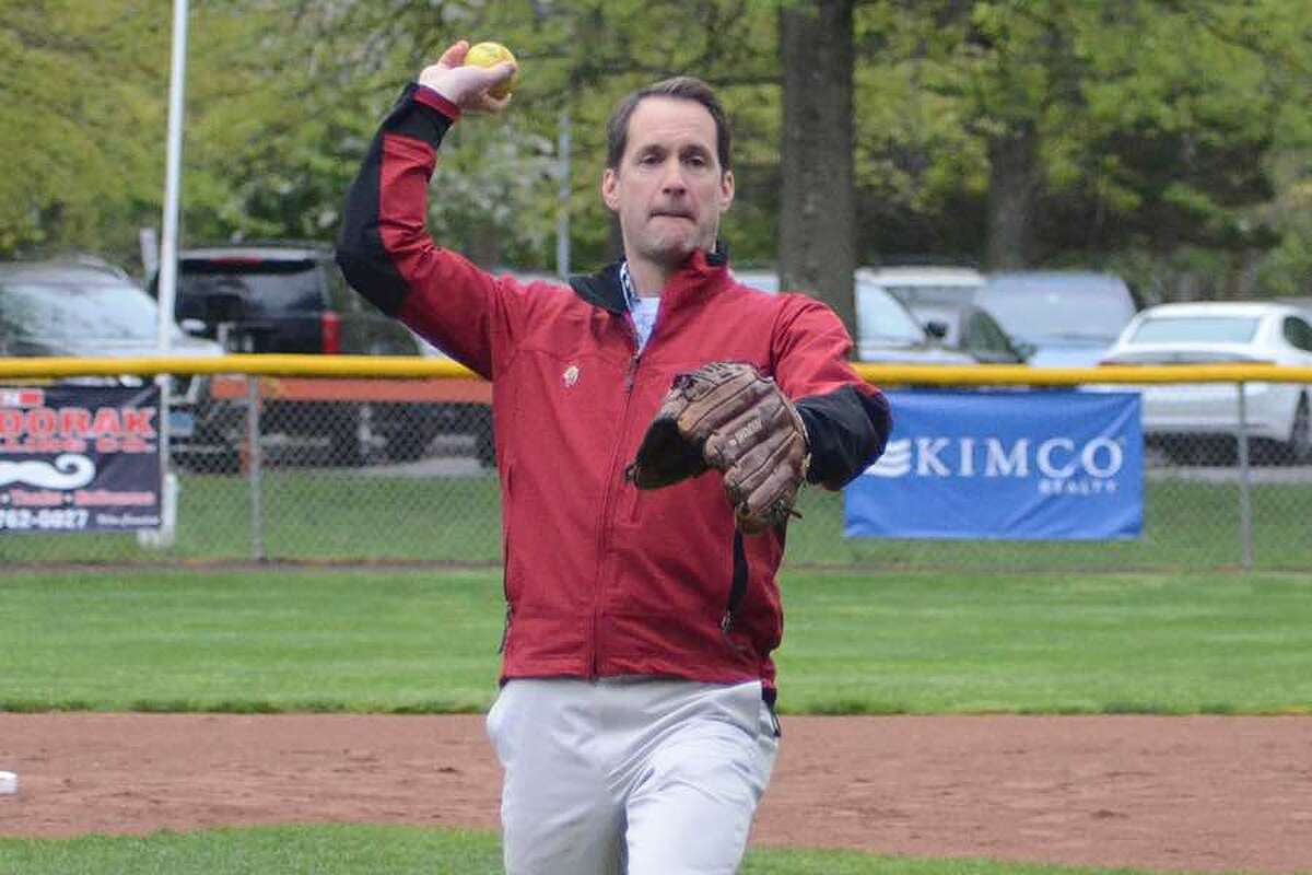 Congressman Jim Himes threw out the first pitch at the Little League Challenger Division game between Ridgefield and Fairfield at the Wilton Family Y on Saturday morning. The Challenger Division is Little League's adaptive baseball program for individuals with physical and intellectual challenges. - J.B. Cozens photo