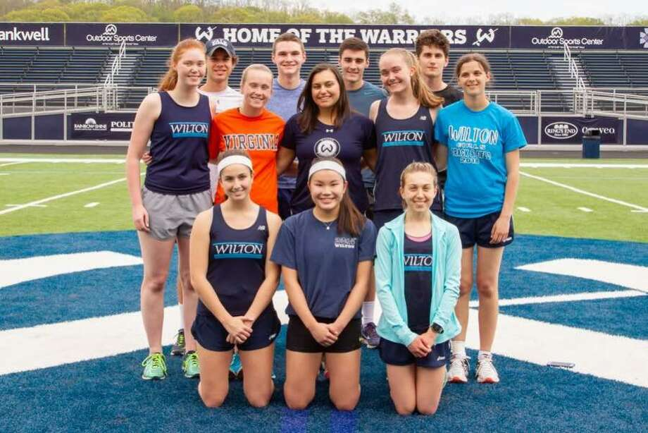 The Wilton High outdoor track and field teams held their senior ceremony before the start of Monday's home meet. The senior athletes honored were, from the left, front row: Lauren Chippetta, Lacey Eller and Morgan McCormick; middle row: Alison Wenman, Lizzie Lynch, Cova Perez-Pelaez, Elisabeth Wenman and Ali Gance; and back row: Chris Colbert, Richard Dineen, Julian Alber and James Sweeney. — GretchenMcMahonPhotography.com