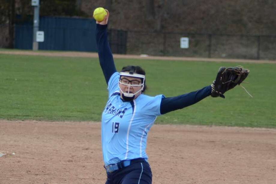 Kate Shouvlin pitched a three-hitter for the Wilton softball team in Thursday's 8-1 win at Brien McMahon. — J.B. Cozens photo