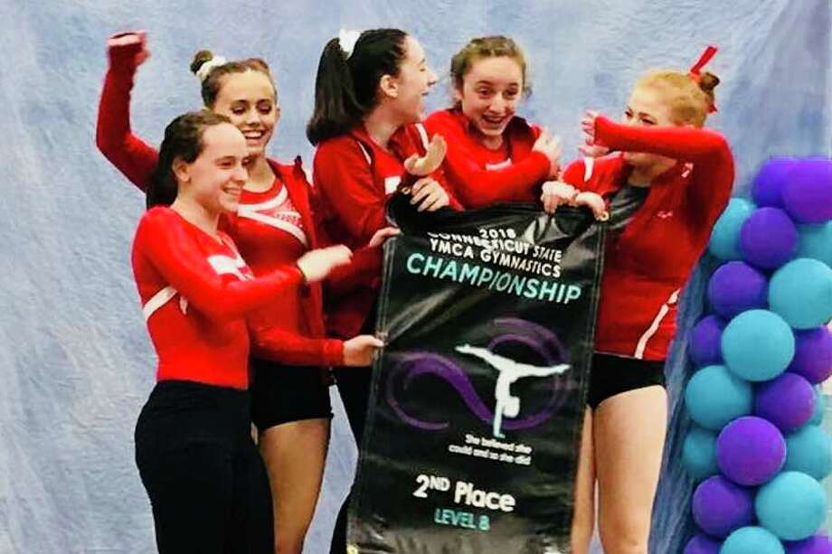 Wilton Y gymnastics team Level 8 members celebrate their second-place finish at the recent state championship meet. From the left: Isabella Jureller, Kate Ginsburg, Mia Karlehag, Olivia Mannino and Sarah Collias.