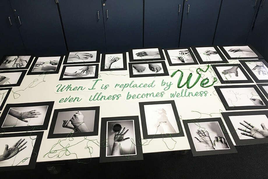 Student artwork at Wilton High School for the mental health awareness week.