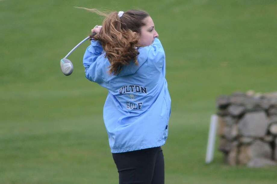 Sophia Kammerman was low scorer for the Wilton High girls golf team at Tuesday's home match against New Canaan. — J.B. Cozens photo