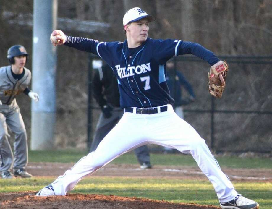 Kyle Phillips went the distance on Saturday in the Wilton High baseball team's 7-1 win over Brookfield at home. — J.B. Cozens photo