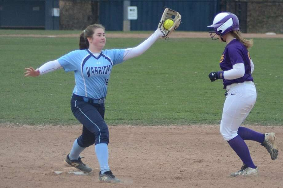 Sophia Strazza makes the catch for a force-out at second base during the Wilton High softball team's win over Westhill on Monday at home. — J.B. Cozens photo