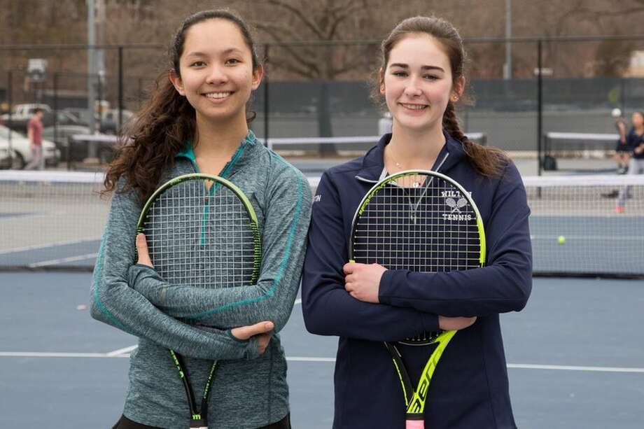 Arden Lee (left) and Cara Kilmartin are co-captains of this year's Wilton High girls tennis team. — GretchenMcMahonPhotography.com