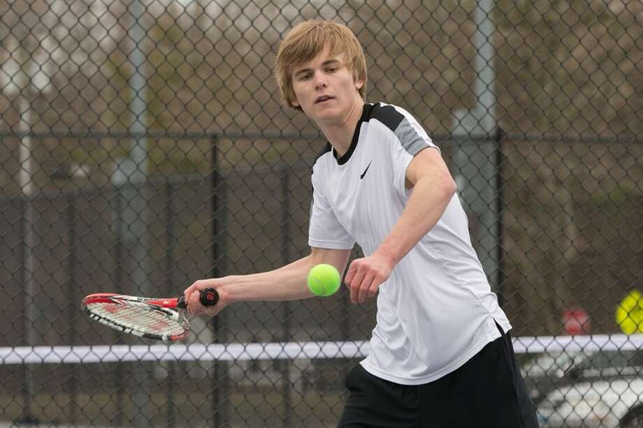 Senior captain Tor Aronson is a three-year starter at singles for the Wilton High boys tennis team. — GretchenMcMahonPhotography.com