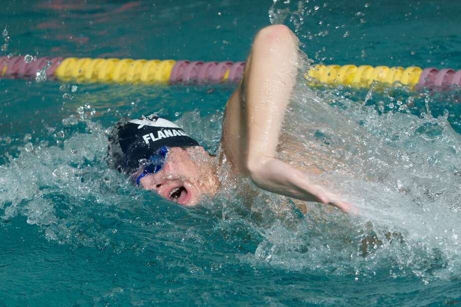 Dylan Flanagan was one of five Wilton swimmers to qualify for the Class L finals in individual events last week. He made the C Finals in both the 200-yard individual medley and 100-yard backstroke. — GretchenMcMahonPhotography.com