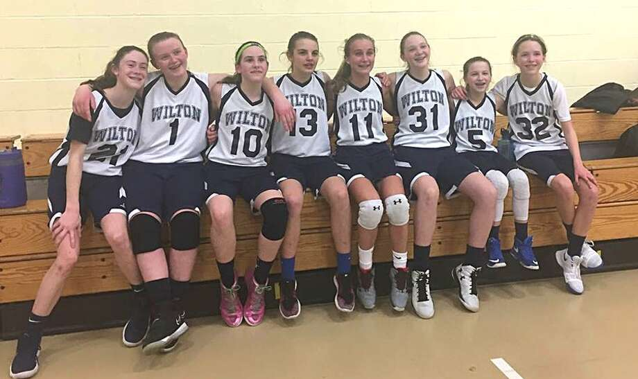 The Wilton seventh grade girls basketball team advanced to the Fairfield County Basketball League quarterfinals last weekend. From the left: Hannah Fitzgerald, Kendall Scholtz, Ava Fasano, Mary Scally, Heather Plowright, Kelly Holmgren, Lucy Corry and Anna Joy. Missing are Molly McLaughlin and Charlotte Casiraghi.