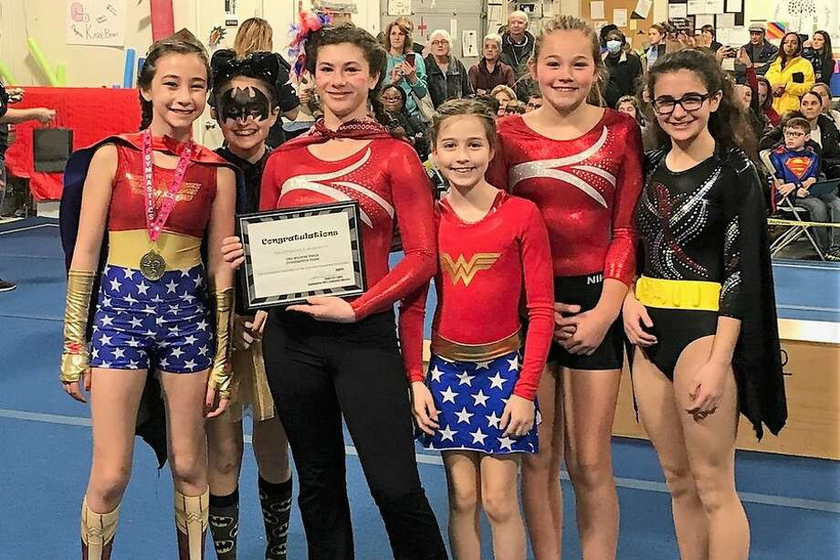 The Wilton Y gymnastics Level 4 team was one of the Team Spirit Award winners at the Kristen Warner Invitational. From the left: Ella Arghirescu, Emma Incao, Isabella Silverstein, Kaelynn Talisse, Lauren Condon and Sofia Vitti.