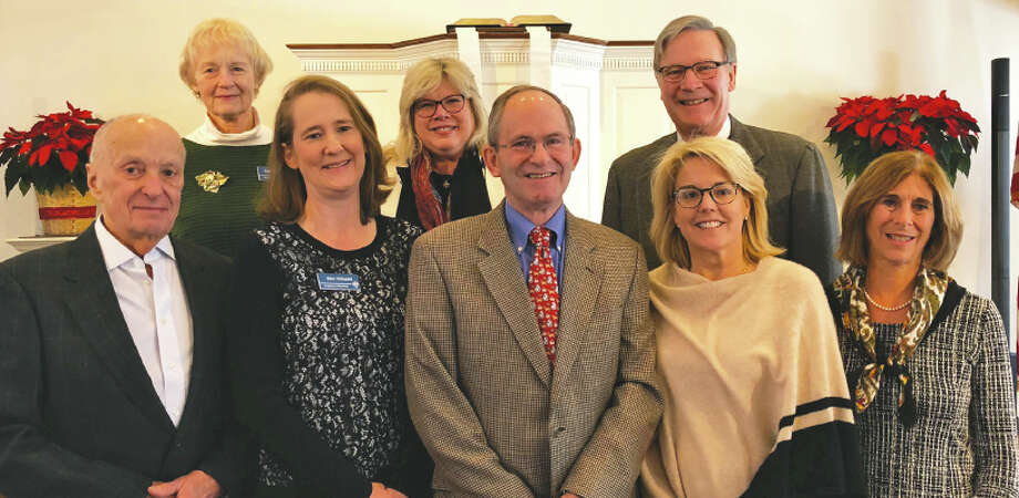 Wilton Congregational Church's new Stephen Ministers are, in front from left, Ian Tesar, Kim Schmitt, Jerry Sprole, Kim McKessy, and Marie Broderick. The church's Stephen Leaders are, from left in back, Ann Newton, the Rev. Anne Coffman, and Gil Bray. — Rick Mapes photo