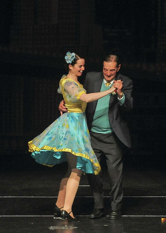 Walter Schalk and Kelly Nayden, one of the instructors at the Walter Schalk School of Dance, open the school's final Revue. — Scott Mullin photo