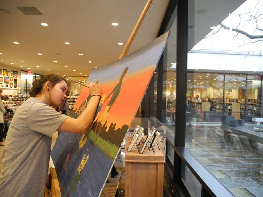 Middlebrook student Jordyn Vyee works on her painting. — Jeannette Ross/Hearst Connecticut Media