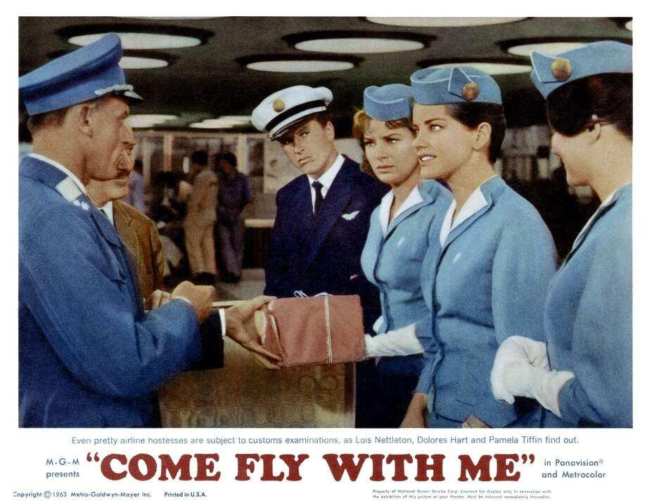 Come Fly With Me, lobbycard, fourth, fifth and sixth from left: Lois Nettleton, Dolores Hart, Pamela Tiffin, 1963. (Photo by LMPC via Getty Images) Photo: LMPC / LMPC Via Getty Images / LMPC