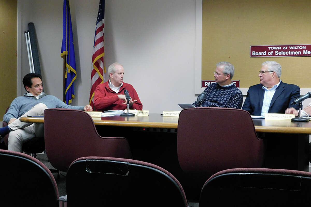 Board of Finance members, from left, Stewart Koenigsberg, Peter Balderston, Jeff Rutishauser, and Walter Kress at a September 2018 meeting. -Kendra Baker photo