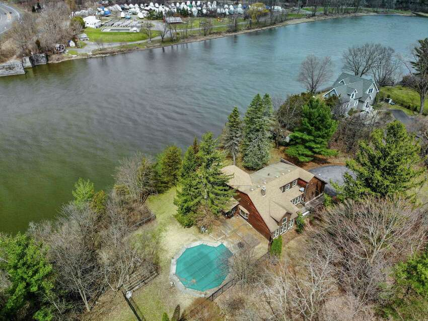 An aerial view of 45 Williams St., Niskayuna, a waterfront property currently listed at $300,000 by Scott Varley of Keller Williams Capital District. (Photo provided)
