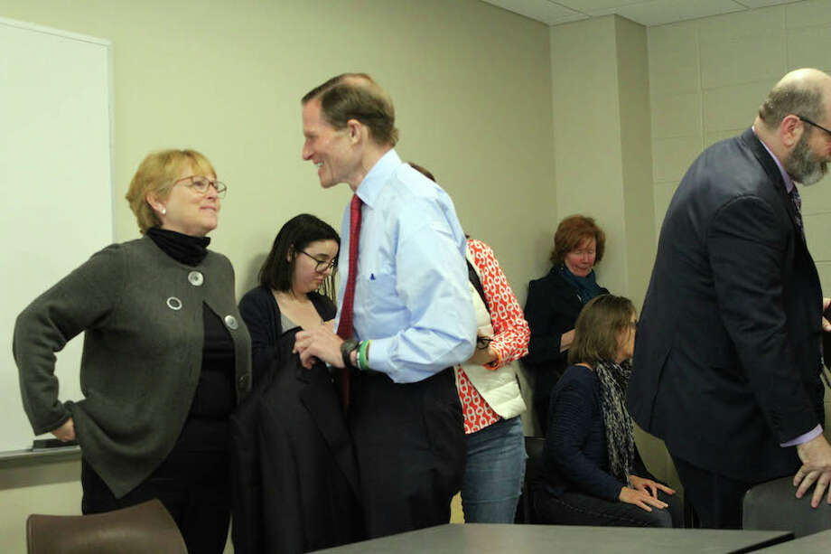 First Selectwoman Lynne Vanderslice speaks with Sen. Richard Blumenthal. — Lynandro Simmons/Hearst Connecticut Media